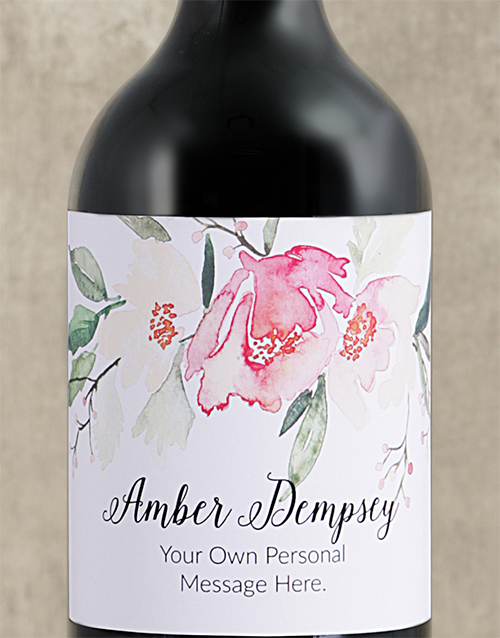 personalised: Personalised Watercolour Floral Red Wine!