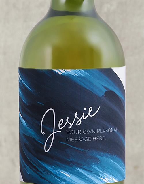 mothers-day: Personalised Blue Brushstroke Wine!
