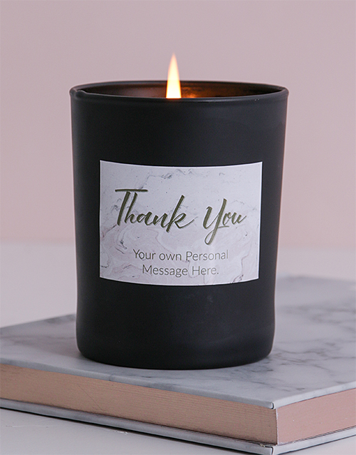 personalised: Personalised Black Marble Thank You Candle!