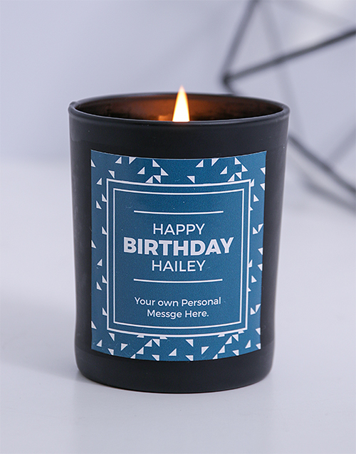 bath-and-body: Personalised Black Triangle Happy Birthday Candle!