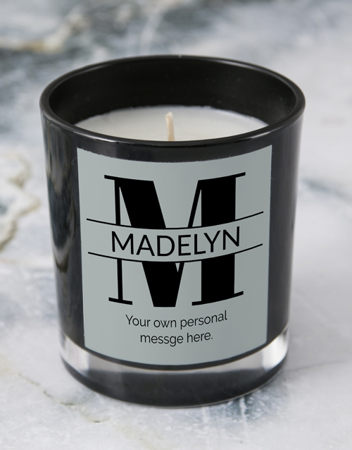 personalised: Personalised Black Stand Out Initial Candle!