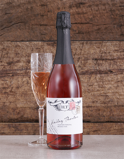 personalised: Personalised Vintage Stamp Rose Bubbly!