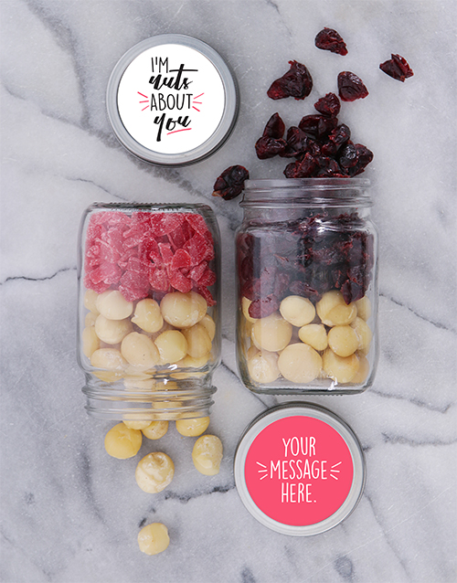 personalised: Personalised Nuts About You Fruit n Nut Jar Set!