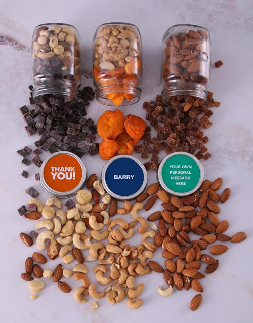 gourmet: Personalised Thank You Fruit n Nut Jar Trio!