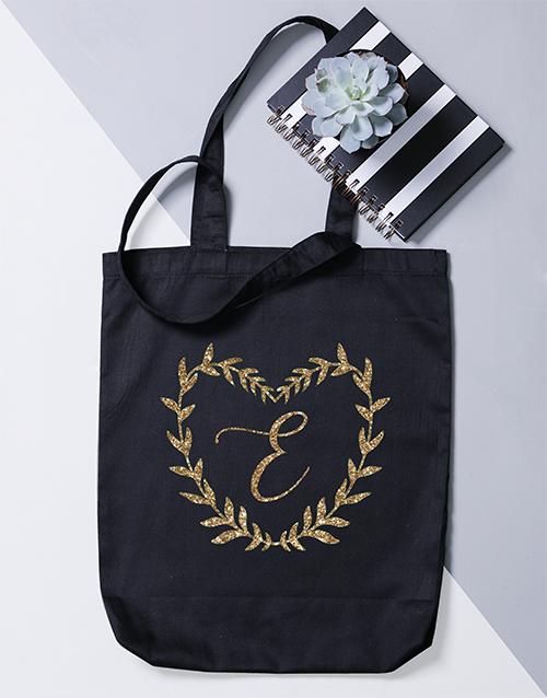 personalised: Personalised Intial Heart Wreath Tote Bag!