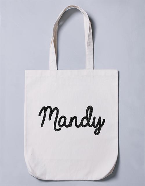 personalised: Personalised Glitter Name Tote Bag!