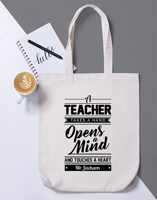 personalised: Personalised Teacher Opens Mind Tote Bag!