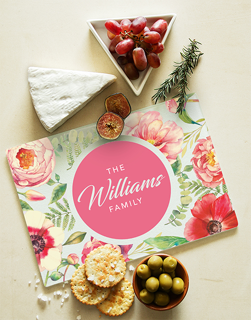mothers-day: Personalised Floral Design Glass Chopping Board!