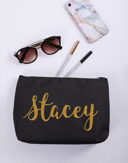 bath-and-body: Personalised Gold Name Cosmetic Bag!