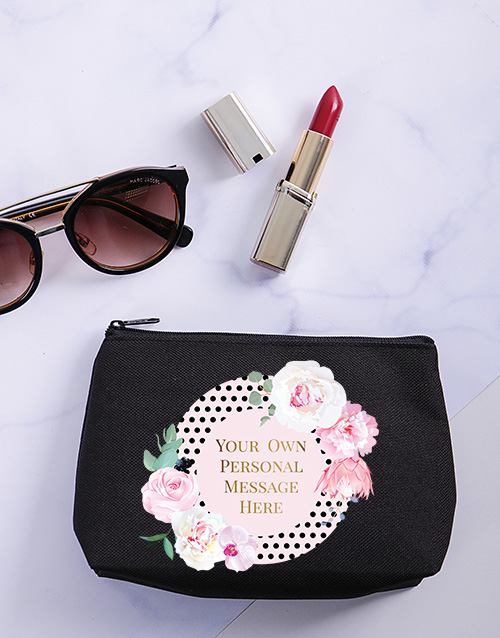 bath-and-body: Personalised Floral Spotted Cosmetic Bag!