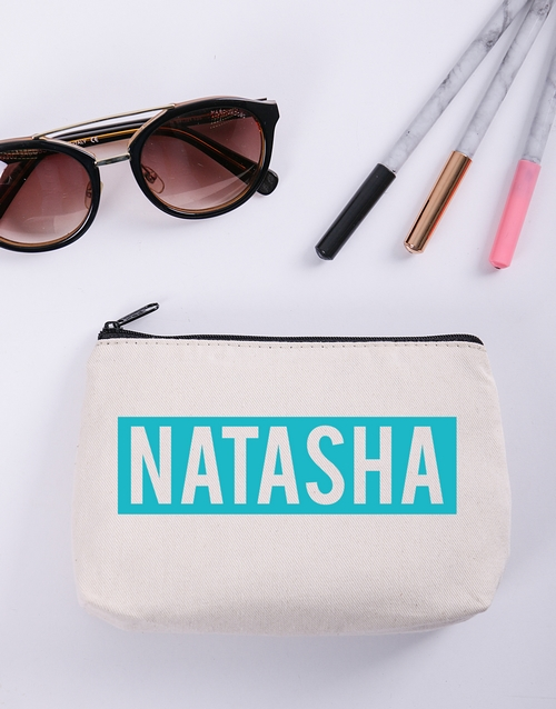 personalised: Personalised Blue and White Cosmetic Bag!