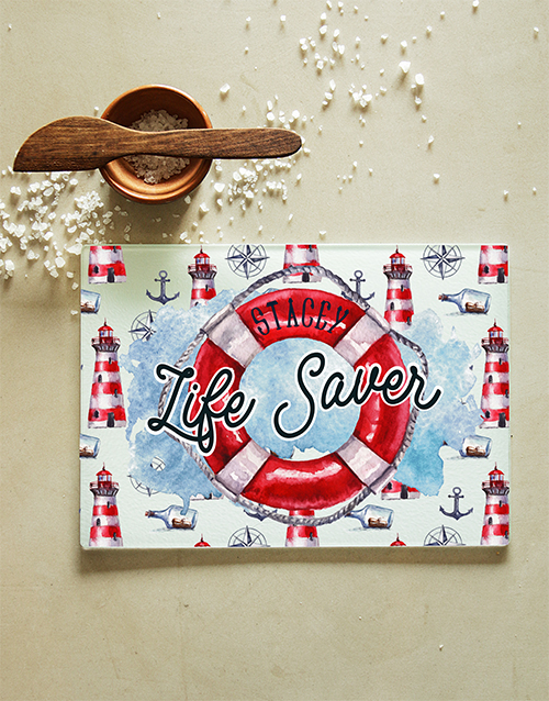 personalised: Personalised Life Saver Glass Chopping Board!