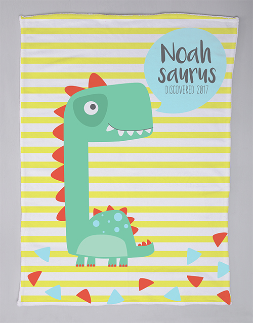 baby: Personalised Saurus Baby Fleece Blanket!
