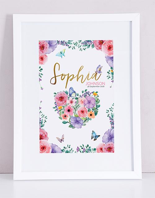 baby: Personalised Framed Floral Print!
