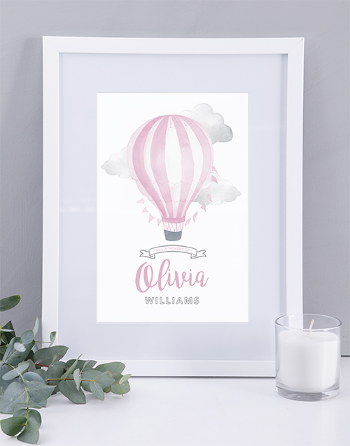 baby: Personalised Framed  Pink Air Balloon Print!