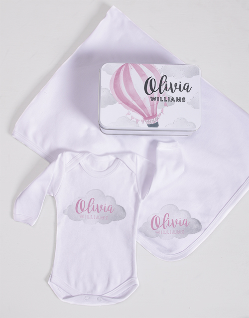 baby: Personalised  Pink Air Balloon Spoils Gift!