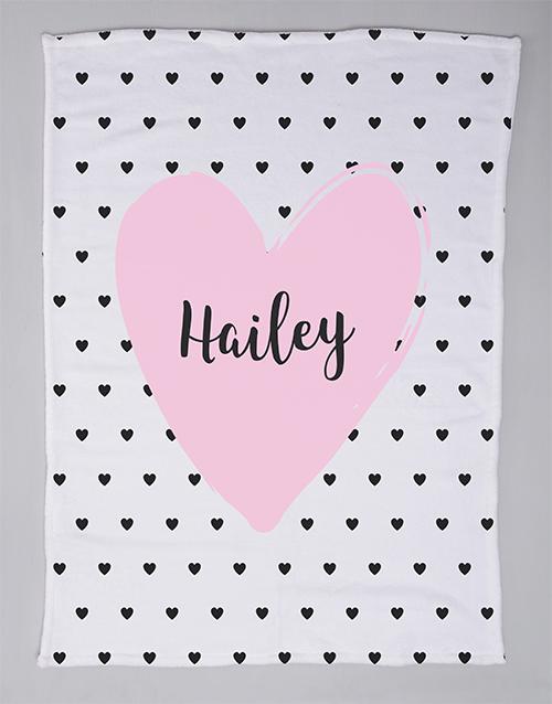 baby: Personalised Heart Baby Fleece Blanket!