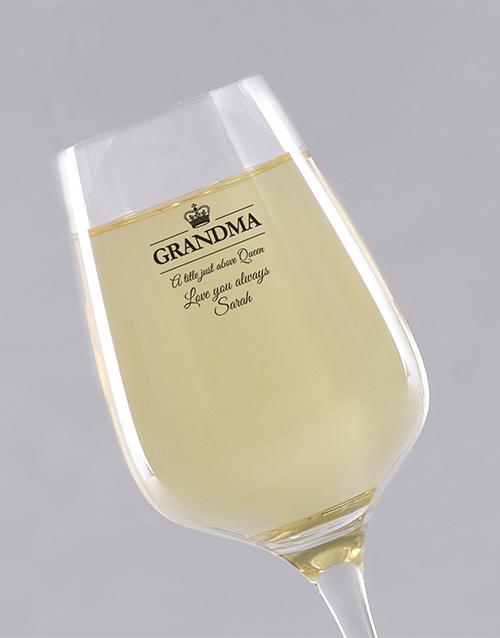 personalised: Personalised Queen Grandma Wine Glass!