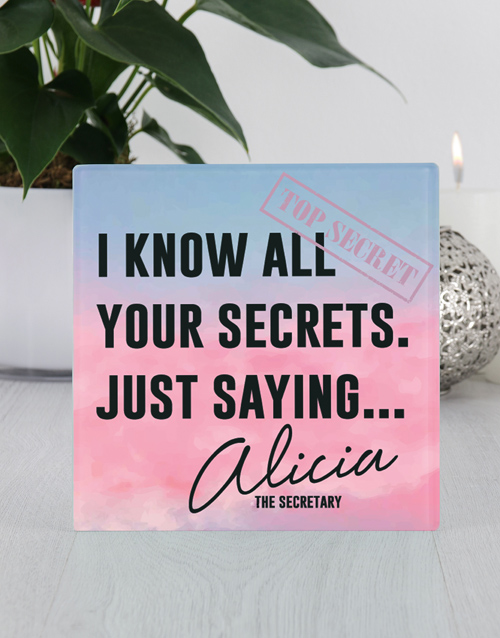 home-decor: Personalised Your Secrets Glass Tile!