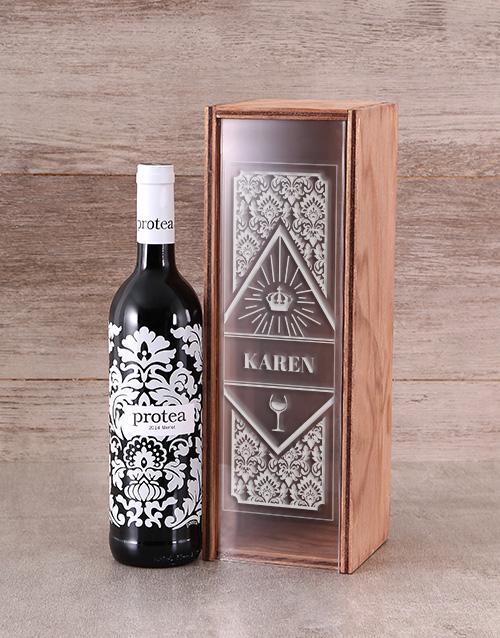 personalised: Personalised Protea Merlot Wine Crate!