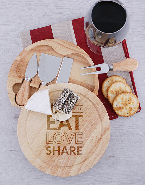 personalised: Personalised Share Round Cheeseboard and Knives!