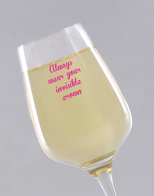 personalised: Personalised Invisible Crown Wine Glass!