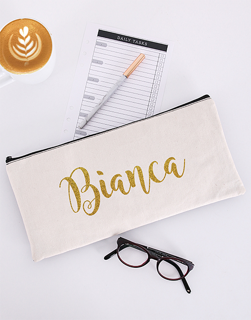 mothers-day: Personalised Glitter Cursive Pencil Bag!