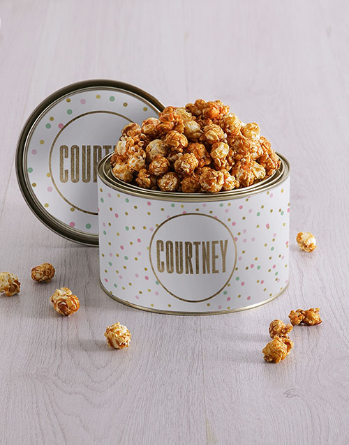 mothers-day: Personalised Dotty Popcorn Tin!