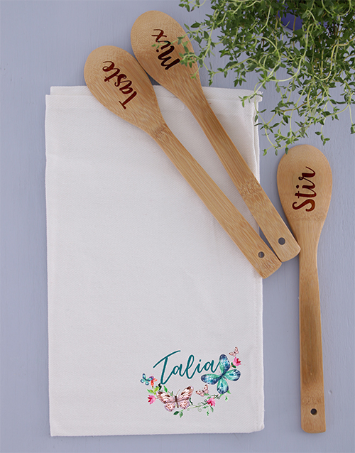 mothers-day: Personalised  Wooden Spoons and Tea Towel!
