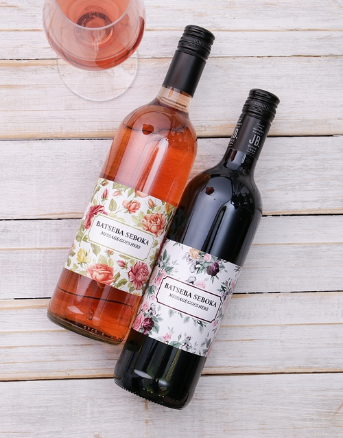 personalised: Vintage Flower Personalised Wine!