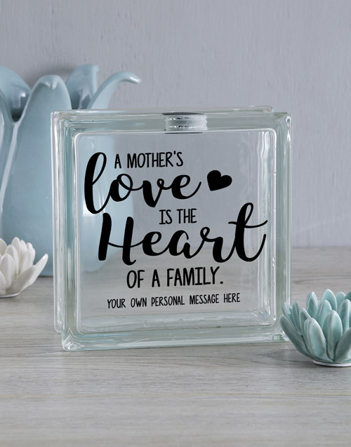 mothers-day: Personalised A Mothers Love Glass Brick!