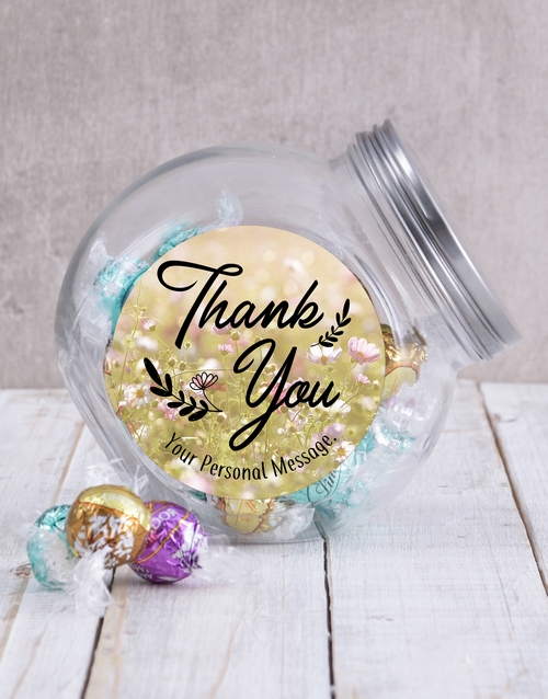 candy-jars: Personalised Thank You Floral Candy Jar!
