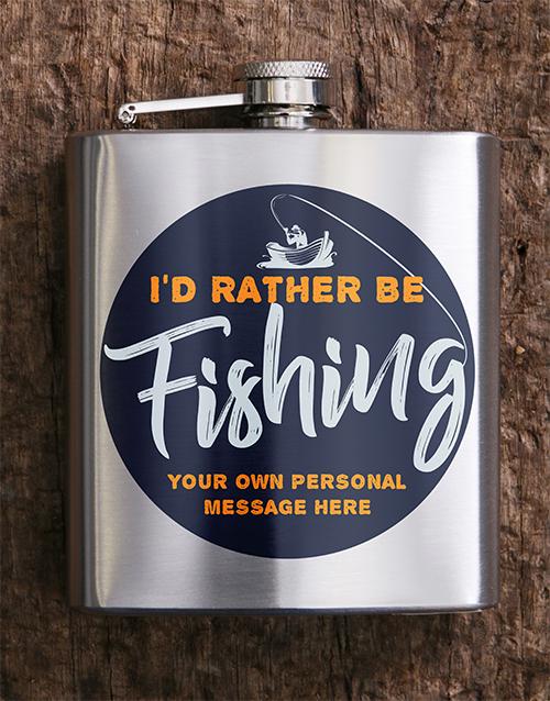 personalised: Personalised Gone Fishing Hip Flask!