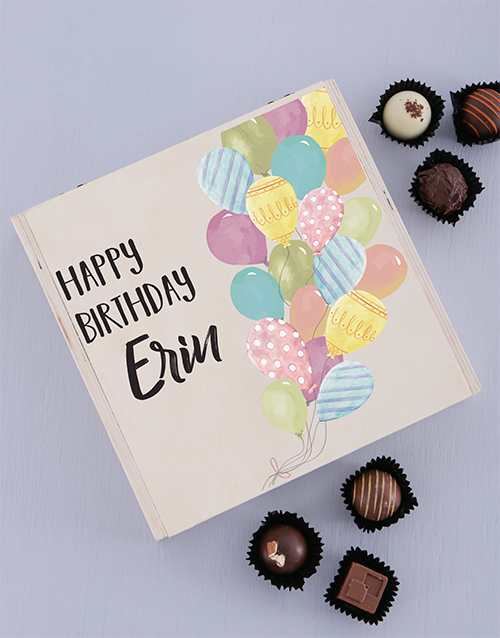 chocolate: Personalised Wooden Birthday Balloon Box!