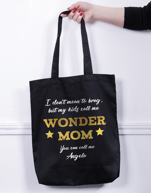 mothers-day: Personalised Wonder Mom Tote Bag!