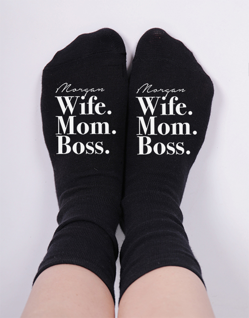 mothers-day: Personalised Wife Mom Boss Socks!