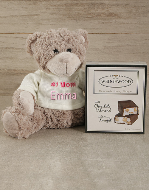 chocolate: Personalised Number One Mom Teddy and Nougat!