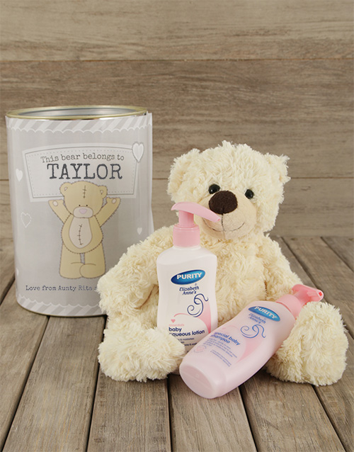 teddy-bears: Personalised Baby Gift Tin!