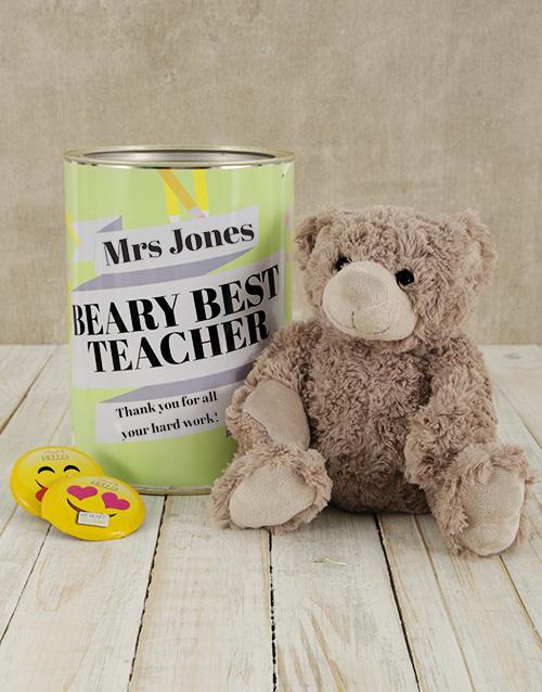 personalised: Personalised Best Teacher Teddy Tin!