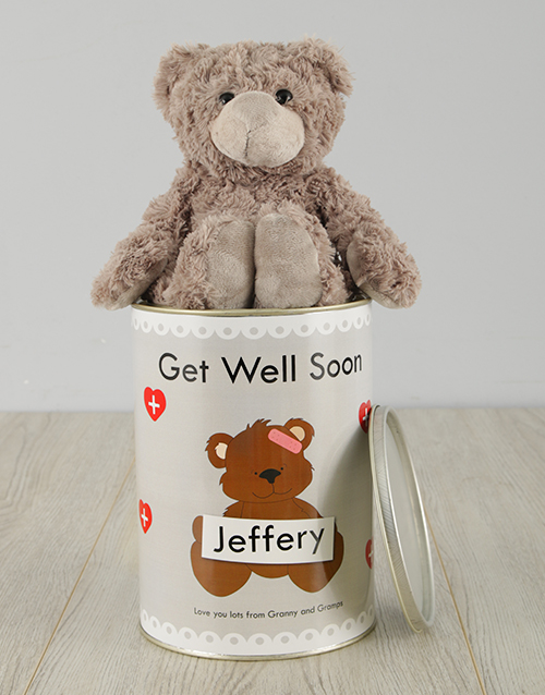 teddy-bears: Personalised Get Well Soon Teddy Tin!