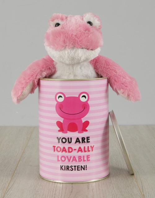 personalised: Personalised Pink Frog Love Tin!