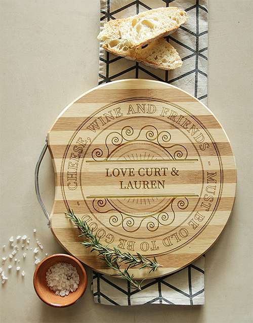personalised: Personalised Cheese, Wine, Friends Chopping Board!