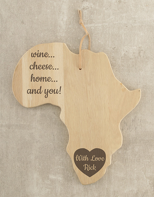 personalised: Personalised Heart of Africa Cheese Board!