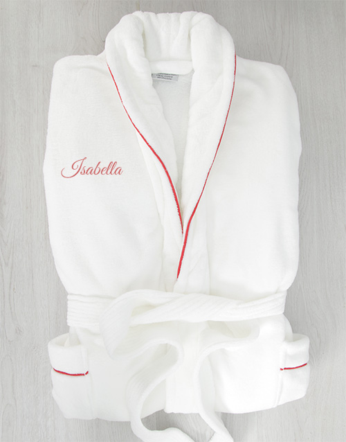 bath-and-body: Personalised White Gown with Red Piping!