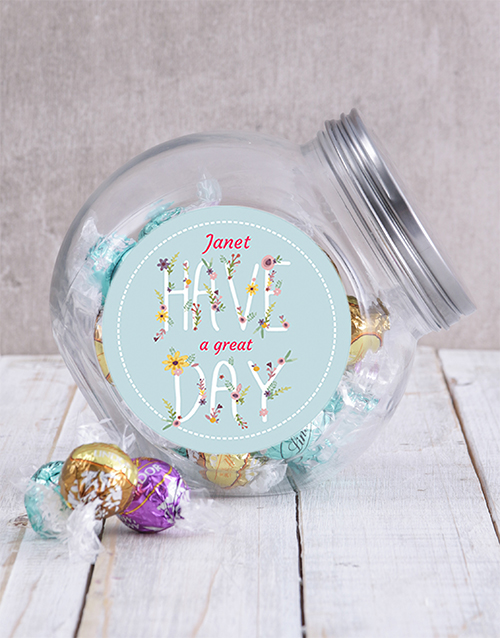 chocolate: Personalised Have A Great Day Candy Jar!