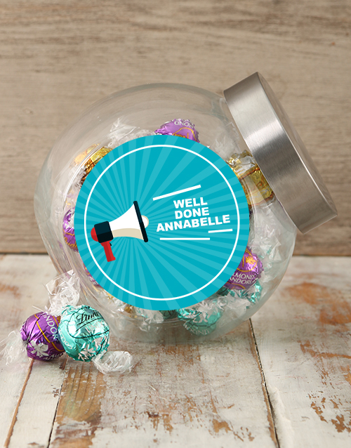 congratulations: Personalised Well Done Shout Candy Jar!