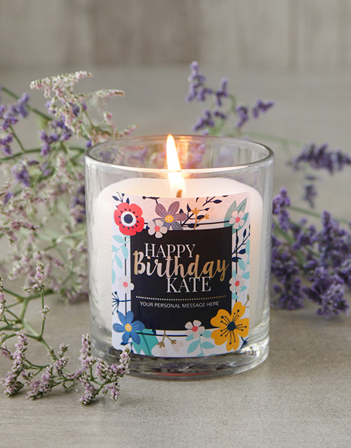 birthday: Personalised Floral Happy Birthday Candle!
