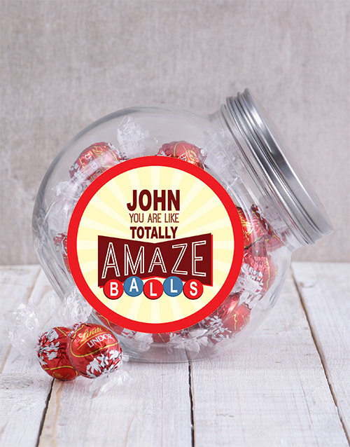 mothers-day: Personalised Red Amazeballs Candy Jar!