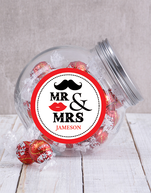 engagement: Personalised Mr & Mrs Lips Candy Jar!