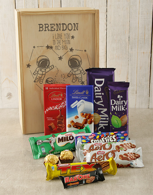 chocolate: Personalised Moon and Back Choc Crate!